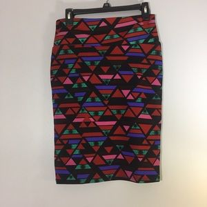 LulaRoe multi colored skirt in geometric pattern